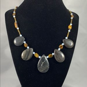 5 stone picasso marble w/ tigers eye & glass